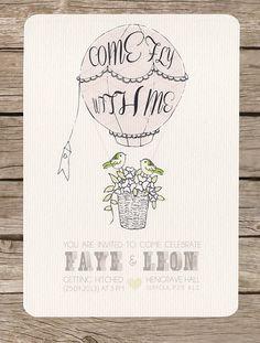 Vintage themed, hot air balloon wedding day invitation