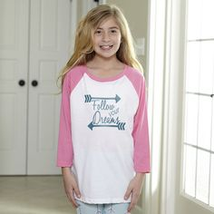Girls Baseball Tee with Follow Your Dreams – Lolly Wolly Doodle