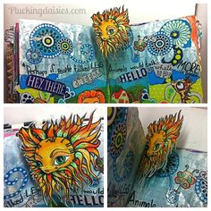Art Journal Pop-up Book | Pluckingdaisies.com #RangerInk #Tutorial  How to create a pop-up with pipe cleaners.