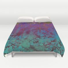 Heaven and Hell Duvet Cover by Vikki Salmela, deep #aqua and #magenta #traditional #Hawaiian #quilt #pattern inspired, with a #Bohemian feel, for #home #decor in the #bedroom. Coordinating products available, #pillows, #clocks, wall #art and more.