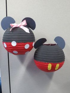 Mikey and Minnie Mouse Paper Lanterns #DIY Follow link for instructions for how to make