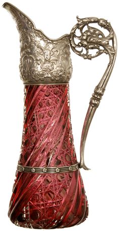 American brilliant cut crystal glass two-colour ewer by J. Hoare with sterling silver spout and handle by Gorham Vintage Bottles, Antique Bottles, Vintage Perfume, Cut Glass, Glass Art, Gorham Silver, Deco Paint, Cranberry Glass, Carnival Glass