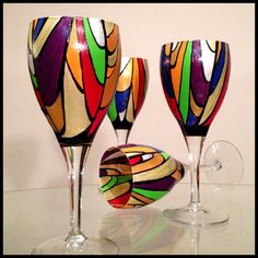 Painted Wine Glasses Ideas | Hand painted wine glasses abstract stained glass design by ... | DIY