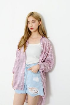 If I actually wore this I would look scrub ✨Red Plaid Long Shirt | Korean Fashion