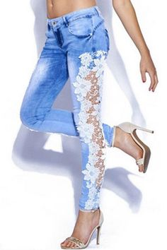 Fashionable Bleach Wash Lace Splicing Skinny Jeans For Women Supernatural Style Fashion Casual, Denim Fashion, Look Fashion, Fashion Outfits, Fashion Design, Fashion Trends, Fashion Site, Fashion Online, Lace Jeans