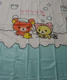 Polyester Shower Curtain – Rilakkuma Blue 180cm w 10 Hook   eBay