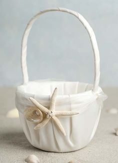 Starfish and Shell Beach Wedding Flower Girl Basket. $32.95, via Etsy.