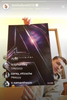 Tom just went live and shared the official poster for Advengers Infinity War!!!! Tom Holland