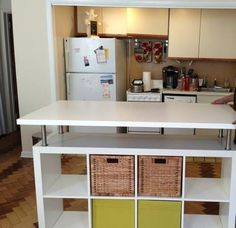 Most current Free of Charge IKEA Hack! An Expedit bookcase was used to create this funky kitchen island! Popular On among my really regular trips to IKEA I found cheaper missing tables that have been an ideal col Kitchen Island Ikea Hack, Kitchen Island Storage, Kitchen Ikea, Kitchen Island Table, Kitchen Craft, Kitchen Islands, Kitchen Shelves, Room Kitchen, Kitchen Hacks