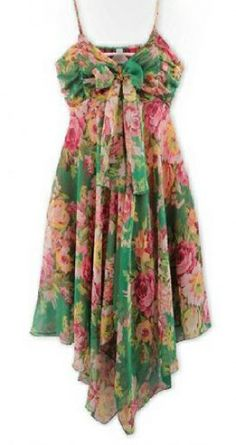 Green Spaghetti Strap Floral Chiffon Dress