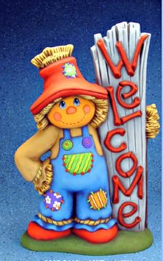 "CERAMIC BISQUE LARGE ""WELCOME"" SCARECROW- READY TO PAINT"