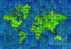 World Map Glasa Blue And Green. world map art wall decor print. #elevencorners #mapglasa