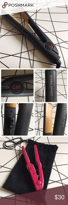 CHI Flat Iron Pre-loved but perfect working condition CHI hair iron. Basic black flat iron with red logo, authentic. Plates are in perfect condition. 120V, 60Hz. Not sure what the highest temperature is exactly but my guess is around 410 - it gets super hot. This purchase also includes a free hot pink mini hair iron in a black pouch. No trades or low ball offers please. Other