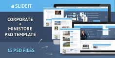 Slideit - Corporate & miniStore PSD Template by DeadlyShadoff Slideit PSD Template is designed for corporate solution and business sites, also added store page templates that may be required f
