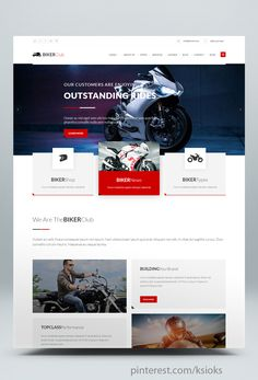 BikersClub is a Multipurpose and Responsive HTML template suitable for Bikes / Motorcycle Owners, Bikes Clubs or Shops and more. Html Website Templates, Wordpress Website Design, Website Layout, Web Design Inspiration, Garage, Motorcycle, Happy, Anime, Carport Garage