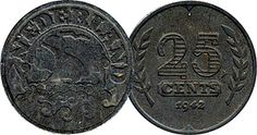 Netherlands 25 Cents (German Occupation) 1941 to 1943