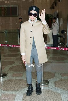 <a gi-track='captionPersonalityLinkClicked' href=/galleries/search?phrase=G-Dragon&family=editorial&specificpeople=7406528 ng-click='$event.stopPropagation()'>G-Dragon</a> of South Korean boy band Bigbang is seen on departure at Gimpo International Airport on May 3, 2013 in Seoul, South Korea.