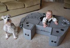 Star Wars fans build a cardboard Millennium Falcon for toddler