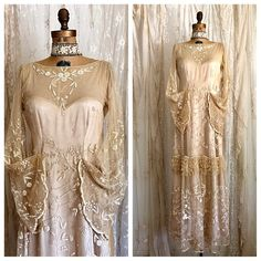 Exquisite Antique Lace Wedding Gown / Museum / Couture / Downton Abbey / Flapper Wedding Dress  #VintageDress #VintageWedding #WEddingDress #FAllWeddingDress #WinterWedding #FlapperWeddingDress #20'sWeddingDress #FallFAshion #EmbroideredDress
