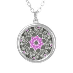 Pink And Grey Kaleidoscope Personalized Necklace