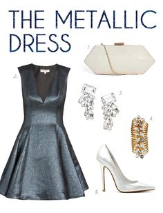metallic dress + icy accessories // new years eve