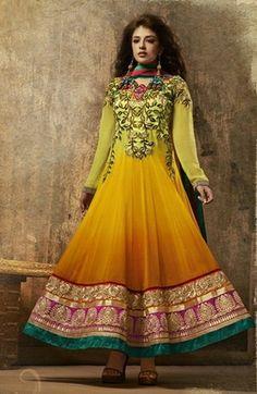 Shaded Lemon Yellow Color Designer Anarkali Salwar Suit Grudge Collection.