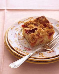 Plum-Nectarine Buckle - Martha Stewart Recipes - super good. Made it with all plums, but I thought there was too much cake and not enough fruit. This time, I'm going to double the fruit and bake it in a 9x13 pan so the cake is thinner.