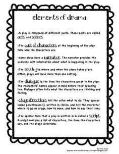 Elements of Drama Handout-my students keep this as a reference in their reading folder