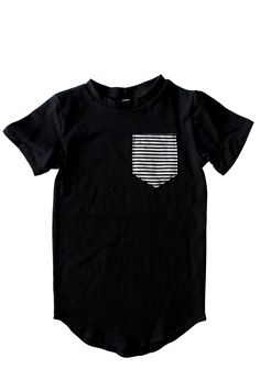 Add a clean new street style to your kids wardrobe with our pocket tail tee. Featuring a b/w stripe chest pocket. Toddler Outfits, Baby Boy Outfits, Trendy Baby Clothes, Babies Clothes, Goth Baby, New Street Style, Black B, Kids Wardrobe, Everything Baby