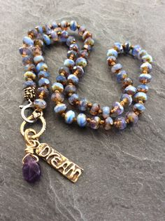Dream pendant boho necklace periwinkle and by Mollymoojewels
