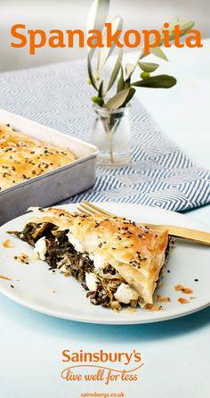 #Spinach #Greekfood #newrecipes #sainsburys Greek Recipes, Pie Recipes, Spanakopita Recipe, Spinach Pie, Sainsburys, Vegetarian Cheese, Restore, Feta, Meals