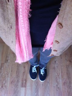Navy tee coral scarf and beige cardi