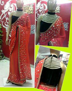 Vermilion Mirrorwork #Saree With Black #Blouse By Ritika Aggarwal.