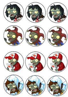 I had an anonymous request for Plants vs. Zombies birthday printables so I created four pages of cupcake toppers. Zombie Birthday Parties, Leo Birthday, Zombie Party, Halloween Party, Birthday Ideas, Plantas Versus Zombies, Zombie Cupcakes, Happy B Day, Cupcake Toppers