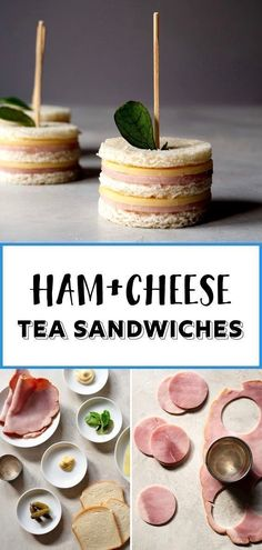 ham and cheese sandwiches. A perfect finger food for afternoon tea, parties, and snack time! Two bites and they're gone.Totally cute ham and cheese sandwiches. A perfect finger food for afternoon tea, parties, and snack time! Two bites and they're gone. Party Finger Foods, Snacks Für Party, Appetizers For Party, Food For Tea Party, Finger Foods For Wedding, Party Food Kids, Party Food For Kids, Tea Party Snacks, Baby Shower Finger Foods