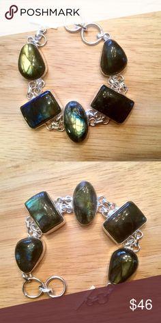 """Labradorite  bracelet. Labradorite Sterling silver bracelet. 7"""" with 1"""" extender. Jewelry Bracelets"""