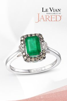 Indulge in the sweetness. Designer Le Vian frames a luscious Costa Smeralda Emerald with irresistible Chocolate Diamonds and Nude Diamonds. Have a taste. Emerald Ring Design, Green Emerald Ring, Emerald Stone, Diamond Stone, Diamond Jewelry, Gemstone Jewelry, Natural Emerald Rings, Le Vian, Fashion Rings
