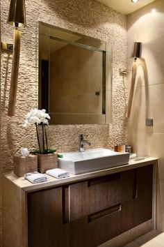 Contemporary Powder Room with Biopietra Firenze Indoor Reconstructed Stone 3D Wall Cladding, Flush, Limestone counters