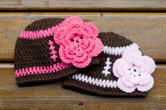 BABY GIRL FOOTBALL Crocheted Beanie Brown and Bright Hot Pink Hat with Large Flower Sizes Preemie, Newborn, 0-3 up to 3 Months