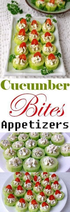 These impressive little appetizers are fantastic for a number of reasons. They come together quickly, making them perfect for entertaining. Beautifully colored, taste great and still have essential nutrients. A standout dish for a party, placed strategically next to a meat side dish, it is quite refreshing. #appetizers #cucumbers #tomatoes