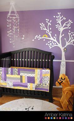 Baby girl's nursery room purple grey and yellow birds
