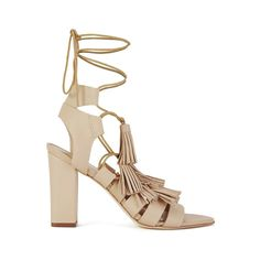 Loeffler Randall Women's Luz Tassel Block Heeled Sandals - Wheat (1.860 HRK) ❤ liked on Polyvore featuring shoes, sandals, nude, nude high heel sandals, high heel shoes, nude sandals, leather lace up sandals and stacked heel sandals