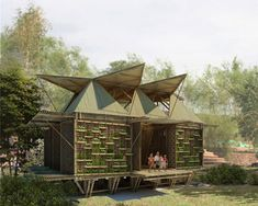 low-cost bamboo housing in vietnam by H&P architects http://www.designboom.com/architecture/low-cost-house-for-middle-vietnam/