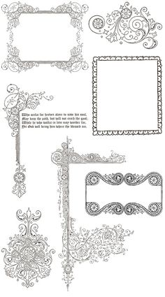 Free Vintage Ornament Border Frames -- TONS of awesome borders, cornices, and squiggles here. Save for later! Clipart, Stencils, Paper Art, Paper Crafts, Vintage Frames, Vintage Clip, Vintage Style, Parchment Craft, Borders And Frames