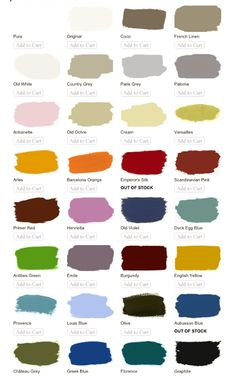 Annie Sloan Chalk Paint color pallet ~ no priming or sanding necessary for most applications