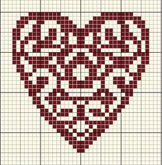 Heart in cross stitch Cross Stitch Heart, Cross Stitch Cards, Cross Stitching, Loom Beading, Beading Patterns, Cross Stitch Patterns, Quilt Patterns, Cross Stitch Gallery, Embroidery Hearts