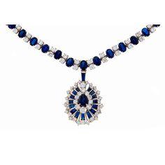 Oscar Heyman Sapphire Diamond Platinum Necklace/Bracelet/Brooch - Pin/Pendant, ca. 1960s