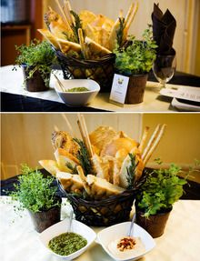 Bread, olive oil, & herbs for a center piece?? With pesto & stuff. How perf!