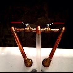 Copper faucet by Logan from www.OneFortyThree.com #cooper #pipe #home