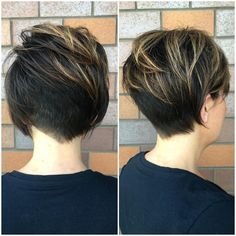 Played with an asymmetrical undercut today for my new guest Cheryl! Using clippers I cut the left side nape tighter, then blended that into a softer pixie undercut to the right. When she tucks her hair begins her ear it blends nicely.